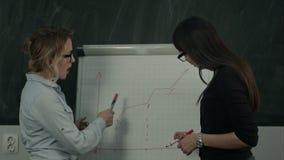 Jong vrouwelijk commercieel team die aan een hand getrokken grafiek op een tikgrafiek werken stock videobeelden