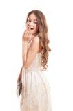 Jong vrouwelijk model verrast acteren Stock Fotografie