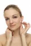 Jong vrouwen toching oor Stock Foto's