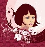 Jong vrouwengezicht stock illustratie