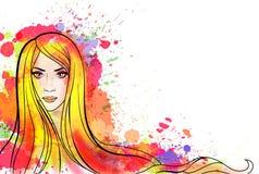 Jong vrouwenportret met kleurrijke plonsen vector illustratie