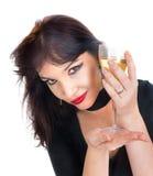 Jong wijfje met glas wijn Stock Fotografie