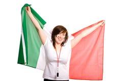 Jong wijfje met Italiaanse vlag, dat op wit wordt geïsoleerde royalty-vrije stock foto's