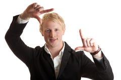Jong zakenman frame gezicht Stock Fotografie
