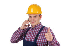 Jonge aannemer op de telefoon Royalty-vrije Stock Foto