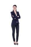 Jonge aantrekkelijke bedrijfsdievrouw op wit wordt geïsoleerd Royalty-vrije Stock Afbeeldingen