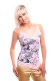 Jonge aantrekkelijke blonde vrouw Stock Foto