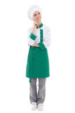 Jonge aantrekkelijke chef-kokvrouw die of over iets dromen denken Stock Fotografie