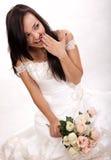 Jonge aantrekkelijke donkerbruine Russische bruid stock afbeelding