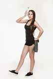 Jonge aantrekkelijke vrouw bij de gymnastiek Royalty-vrije Stock Foto