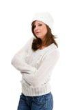 Jonge aantrekkelijke vrouw die op witte backgroun wordt geïsoleerd Stock Foto's