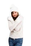 Jonge aantrekkelijke vrouw die op witte backgroun wordt geïsoleerd Royalty-vrije Stock Afbeelding