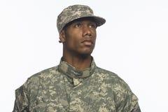 Jonge Afrikaans-Amerikaanse militaire horizontale mens, Stock Foto