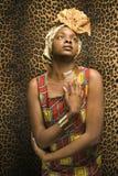 Jonge Afrikaanse Amerikaanse Vrouw in Traditioneel Afrika Stock Fotografie