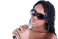 Jonge Afro-Amerikaanse zanger Stock Foto