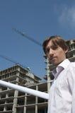 Jonge Architect Infront van Bouwwerf stock foto