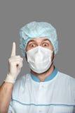 Jonge arts met container voor analyse Stock Foto