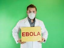 Jonge arts met Ebola-teken Stock Afbeelding