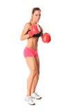 Jonge atletenvrouw klaar te vechten Stock Afbeelding