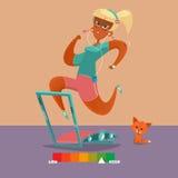 Jonge atletische vrouw die op spoor lopen Stock Foto