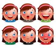 Jonge avatar van het meisjesjonge geitje gelaatsuitdrukkingenreeks leuke emoticonhoofden Royalty-vrije Stock Foto's