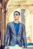 Jonge Aziatische Amerikaanse Mens die in New York reizen Stock Afbeelding