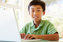 Jonge Aziatische jongen die laptop met behulp van Royalty-vrije Stock Foto's