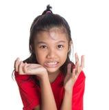 Jonge Aziatische Uitdrukking I van het Meisjesgezicht Royalty-vrije Stock Afbeelding