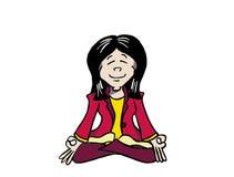 Jonge Aziatische vrouw het praktizeren mindfulness - Ji royalty-vrije illustratie