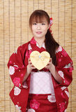 Jonge Aziatische vrouw in kimono Royalty-vrije Stock Afbeelding