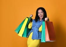Jonge Aziatische vrouw met het winkelen zakken op kleurenachtergrond stock fotografie