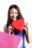 Jonge Aziatische vrouwen die Doos houden Stock Fotografie