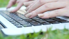 Jonge Aziatische vrouwen` s benen op het groene gras met open laptop Meisjes` s handen op toetsenbord Het Concept van het Afstand stock video