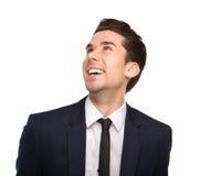 Jonge bedrijfs en mens die omhoog glimlachen kijken Royalty-vrije Stock Afbeelding