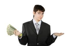 Jonge bedrijfs geïsoleerdes mens met geld   Stock Afbeelding