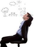 Jonge bedrijfs omhooggaand en mens die kijken plannen Stock Foto