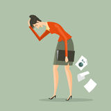 Jonge bedrijfs vermoeide vrouw het houden van een aktentas Stock Foto's