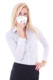 Jonge bedrijfsdievrouw met speelkaarten op wit wordt geïsoleerd Royalty-vrije Stock Foto's