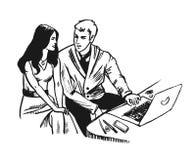 Jonge Bedrijfsman en vrouw die samen met notitieboekje werken Schetshand getrokken stijl Royalty-vrije Stock Foto