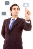 Jonge bedrijfsmens die een touchscreen knoop drukt Royalty-vrije Stock Afbeelding