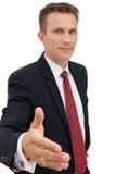 Jonge bedrijfsmens klaar om een overeenkomst over wit te plaatsen Royalty-vrije Stock Foto