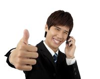 Jonge bedrijfsMens met mobiele telefoon Stock Afbeelding