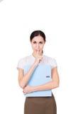 Jonge bedrijfsvrouw in bedrijfskleren die een geheim hebben en een stiltegebaar maken Geïsoleerde royalty-vrije stock foto