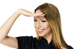 jonge bedrijfsvrouw die ver weg kijken Stock Afbeeldingen