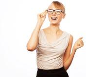 Jonge bedrijfsvrouw in glazen stock afbeeldingen