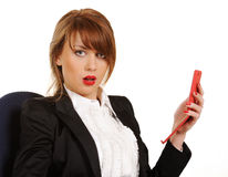 Jonge bedrijfsvrouw met cellphone Royalty-vrije Stock Afbeelding