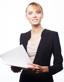 Jonge bedrijfsvrouw met document stock foto's