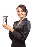 Jonge bedrijfsvrouw met zandloper Stock Foto