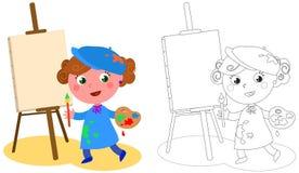 Jonge beeldverhaalschilder het kleuren vector stock illustratie