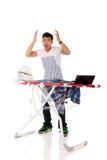 Jonge beklemtoonde Nepalese mens, ijzer, laptop Royalty-vrije Stock Foto's